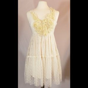 Anthropologie Ryu Cream Lace Dress, Size Small